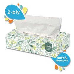 Kleenex Flat Box 2-Ply 10% Recycled Facial Tissue, Box of 125