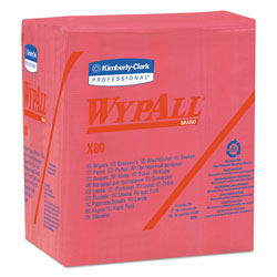 WypAll® X80 Cleaning Wipes, Red, 4 Boxes of 50