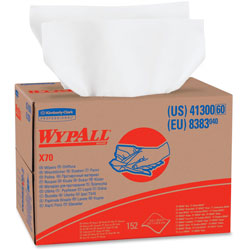 WypAll® X70 Workhorse Shop Rags, White, Box of 152 Sheets