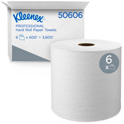 "Kleenex Hard Roll Towels, 8 x 600ft, 1 3/4"" Core dia, White, 6 Rolls/Carton"