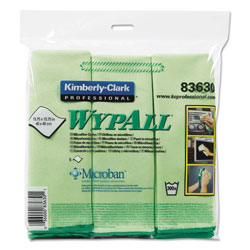 WypAll® Microfiber Cloths, Reusable, 15 3/4 x 15 3/4, Green, 6/Pack