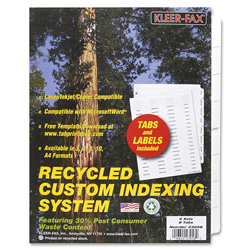 Kleer-Fax Custom Indexes, 8 Tabs, White