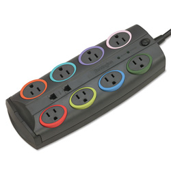 Kensington 62690 Standard Color Coded Eight Outlet Adapter Model Surge Protector