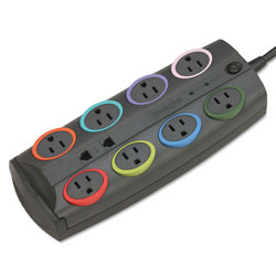 Kensington 62691 Premium Color Coded Eight Outlet Adapter Model Surge Protector