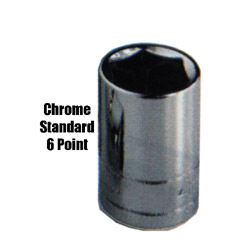 "K Tool International 3/8"" Drive Standard 6 Point Chrome Socket 3/4"""