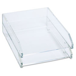 Kantek Clear Acrylic Double Letter Tray, Front Load, Self Stacking, Letter Size