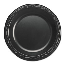 "Genpak Foam Dessert Plate, 6"", Black, Case of 8"