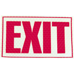 "L.C. Industries Exit Sign, Glow In Dark, 1/64""x9-3/4"",7-3/4"", Red/White"