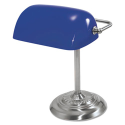 "Ledu Traditional Banker's Lamp, 14"" High, Cobalt Blue Glass Shade, Chrome Base"