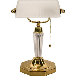 "Ledu 14"" High Executive Banker's Lamp, Frosted White Shade/Acrylic Column/Brass Base"