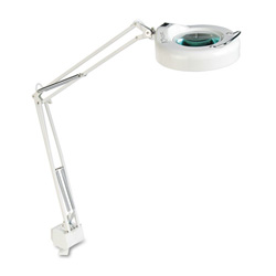 "Ledu Fluorescent Magnifying Swing Arm Clamp Mount Lamp, 42"" Reach, White"