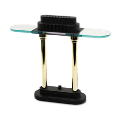 "Ledu 16 1/2"" Desk Lamp, Black/Brass Poles"