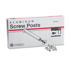 "Charles Leonard Post Binder Aluminum Screw Posts, 3/16"" Diameter, 1/2"" Long, 100/Box"