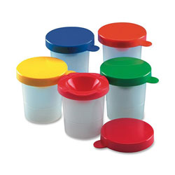 Charles Leonard Paint Cups, with Colored Lid,10/ST, Assorted Colors