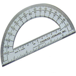 "Charles Leonard Protractor, w/ 6"" Ruler, Plastic, Clear"
