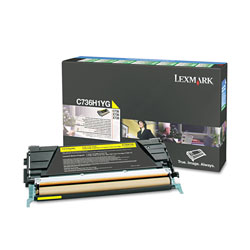 Lexmark C736H1YG Toner, 10000 Page-Yield, Yellow