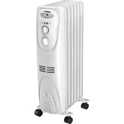 "Lorell Oil Filled Heater, 3 Settings, 1500Watt, 14-1/16"" x 9-2/3"" x 26"", White"