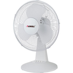"Lorell 12"" Oscillating Fan, 3 Speeds, 13-15/16""x11-1/2""x1-1/2"", LGY"