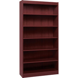 "Lorell 5 Shelf Veneer Panel Bookcase, 36""Wx12""Dx72""H, Mahogany"