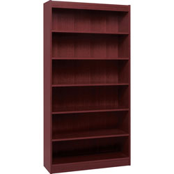 "Lorell 6 Shelf Veneer Panel Bookcase, 36""Wx12""Dx84""H, Mahogany"
