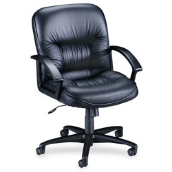 "Lorell Black Leather Exec Midback Chair, 25 3/4"" x 29"" x 38 1/2"""