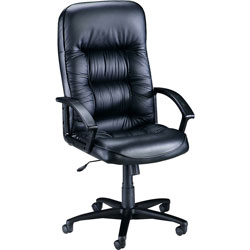 "Lorell Executive Chair, 25 3/4"" x 29 3/4"" x 45 1/2"" 49"", Black Leather"