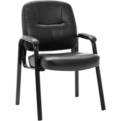 "Lorell Guest Chair, Leather, 25""x27""x34"", Black"