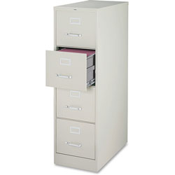"Lorell Vertical File, 4-Drawer, Legal, 18""x26-1/2""x52"", Light Gray"