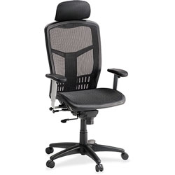 "Lorell High-Back Mesh Chair 20-7/8"" x 23-1/4"" x 34-3/8"" x42-7/8"", Black"