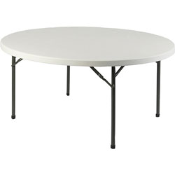"Lorell Banquet Folding Table, 500lb Capacity, Round Top x 71"" x 29-1/4"" High, Platinum"