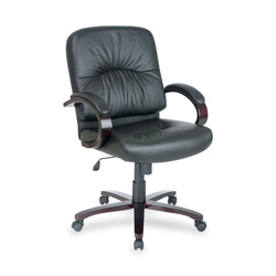 "Lorell Managerial Mid-Back Chair, 26-1/2"" x 28-3/4"" x 42-1/4"" MY/BK Lthr"
