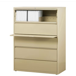 "Lorell 5 Drawer Metal Lateral File Cabinet, 44""x21.5""x71.5"", Putty"