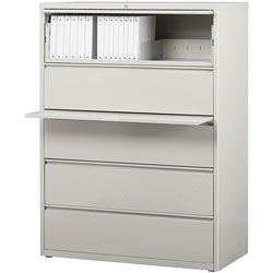 "Lorell 5 Drawer Metal Lateral File Cabinet, 44""x21.5""x71.5"", Gray"