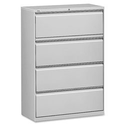 "Lorell 4 Drawer Metal Lateral File Cabinet, 44""x21.5""x57.75"", Gray"