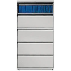 "Lorell 5 Drawer Metal Lateral File Cabinet, 38""x21.5""x71.5"", Gray"