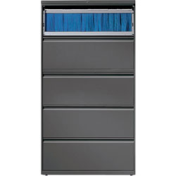 "Lorell 5 Drawer Metal Lateral File Cabinet, 38""x21.5""x71.5"", Dark Gray"