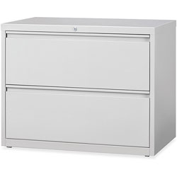 "Lorell 2 Drawer Metal Lateral File Cabinet, 38""x21.5""x32-4/5"", Gray"