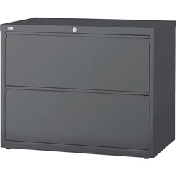 "Lorell 2 Drawer Metal Lateral File Cabinet, 38""x21.5""x32-4/5"", Dark Gray"