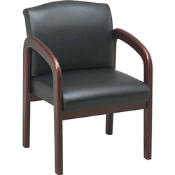 "Lorell Deluxe Faux Guest Chair, 23"" x 25 1/2"" x 33 1/2"", Black/Cherry Frame"