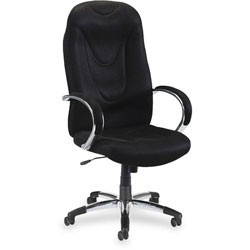 "Lorell Black Exec Hi Back Chair, Airseat, 30 1/2"" x 25 1/2"" x 47"" to 50 1/2"""