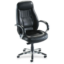 "Lorell Exec Hi Back Chair, 26 1/2"" x 29"" x 45 1/4"" to 49 1/2"", BK Leather"