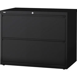 "Lorell 2 Drawer Metal Lateral File Cabinet, 36""x18-5/8""x28-1/8"", Black"