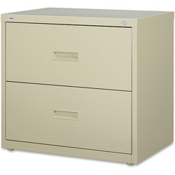 "Lorell 2 Drawer Metal Lateral File Cabinet, 30""x18-5/8""x28-1/8"", Beige"