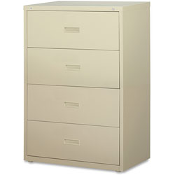 "Lorell 4 Drawer Metal Lateral File Cabinet, 30""x18-5/8""x52.5"", Beige"