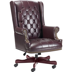 "Lorell Executive Vinyl Swivel Chair, 30""x32""x44""-46"", Burgundy"