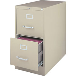 "Lorell Vertical File, 2-Drawer, Legal, 18""x26-1/2""x28-3/8"", Putty"