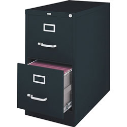 "Lorell Vertical File, 2-Drawer, Legal, 18""x26-1/2""x28-3/8"", Black"