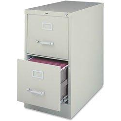 "Lorell Vertical File, 2-Drawer, Legal, 18""x26-1/2""x28-3/8"", Light Gray"
