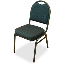 "Lorell Blue Stack Chairs with Round-Back, 18"" x 22"" x 35 1/2"""