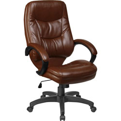 "Lorell Westlake High Back Executive Chair, 26-1/2"" x 28 1/2"" x 47-1/2"", Brown Leather"